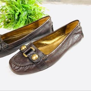 Coach dark brown leather flats